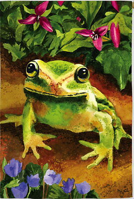 NEW BEAUTIFUL LARGE EVERGREEN FLAG COLORFUL FROG TRILLIUM 29 x 43