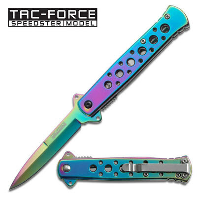 Tac-Force Rainbow Blade Spring Assisted Knife, Black Aluminum Handle