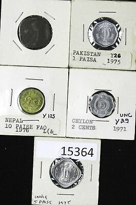 Lot of 5 Coins of South Central Asia Nepal Pakistan India Ceylon