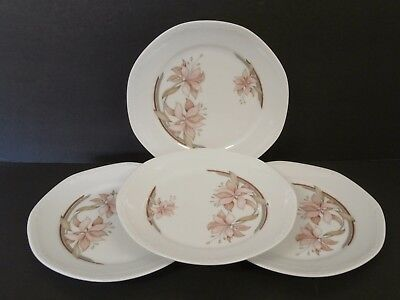 Mitterteich Bavaria W. Germany China Salad Plates Pink Brown Flowers-Lot of 4