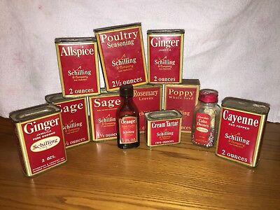 Vintage Lot Of 12 Schilling Spice Tins And Bottles