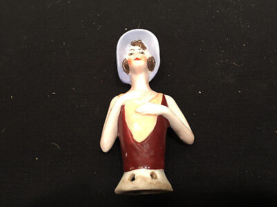 Vintage PORCELAIN HALF DOLL Flapper Girl Germany Hat Hands to Chest pin cushion