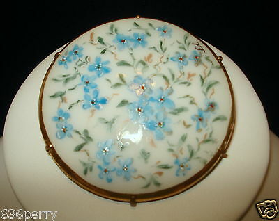 Antique Victorian Hand Painted Blue Posey's Gold Gilt Porcelain Pin  c.1900's
