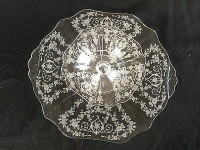 Elegant Glass Cambridge Diane 13 in Etched Engraved Cheese & Cracker Platter