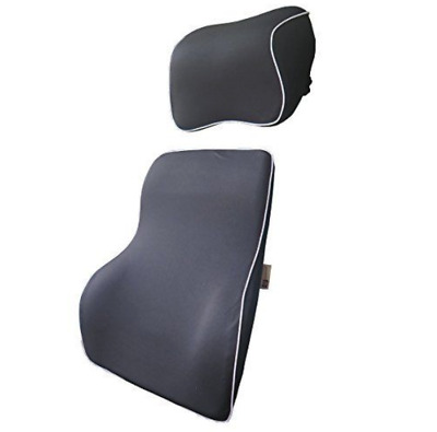 Love Home Premium Memory Foam Car Lumbar Cushion & Car Neck Pillow Kit (Blac