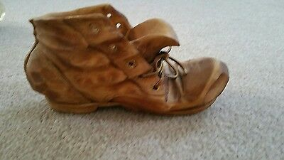 Vintage Hand Carved Wooden Shoe Signed The Whittlers Gorgeous Wood Boot