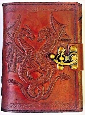 Dragon Leather Journal Drawing Sketchbook 5x7 - Lock Notebook with 120 Pages