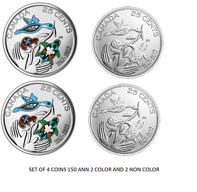 2017 COLORED 25 CENTS 150th Anniversary coins set of 4
