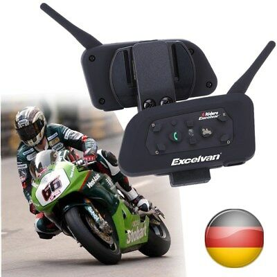 2PC BT Bluetooth Motorcycle Motorrad Sturzhelm Helmet Headset Intercom 1200M Neu