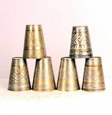 6 Pc Old Brass Handcrafted Engraved Solid Milk Glasses , Nice Patina-5391