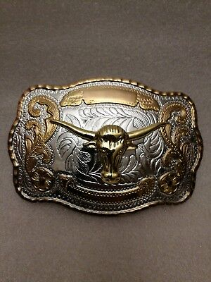 Longhorn Bull Head Western Cowboy Rodeo Texas Gold Color Large Belt Buckle