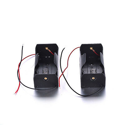 2 Pcs 1 x D Size Battery Holder Case 1.5V DC Box With Wire Lead