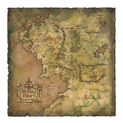 LOTR Hobbit Parchment Map of Middle-earth An Unexpected Journey Authentic WETA