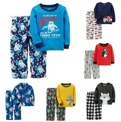 NWT Toddler Boys CARTER'S  2-Pc Pajamas Sets Flannel Fleece Button-Front 2T-5T