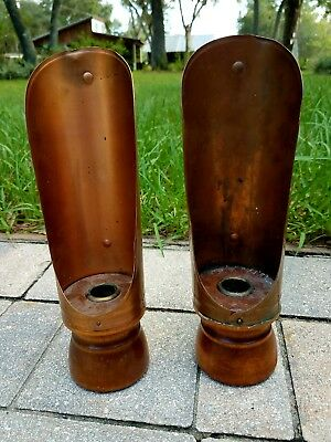 2 Vintage copper wood chamber candlesticks forged iron arts & crafts primitive