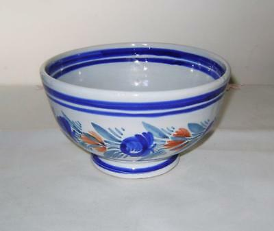 HB Quimper Bowl with Floral Decoration  French Faience: 15 cm wide