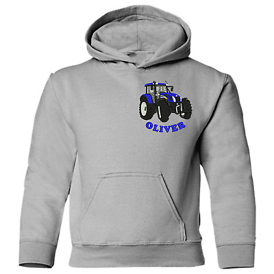 NEW HOLLAND EMBROIDERED Personalised farm tractor adult Children unisex hoodie