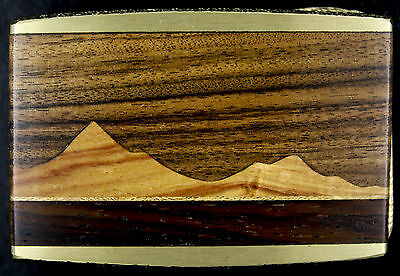 Vtg NOS Wood Inlay Nature Mountain Southwest Hippy Solid Brass Belt Buckle