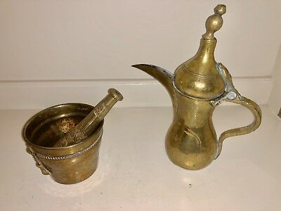 Antique Brass Indian Tea Pot - Kettle - Pitcher Urn and Mortar and Pestle Set
