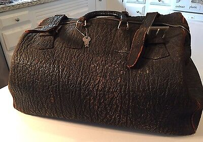 Large Early 1900s Antique Seal Skin Leather Doctor Bag Like Suitcase Luggage