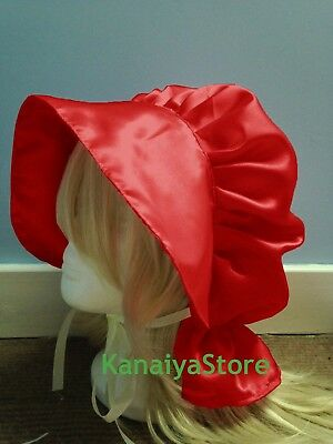 Red Satin Victorian Edwardian Adult Sissy Baby Fancy Dress Bonnet Cap Hat Maid