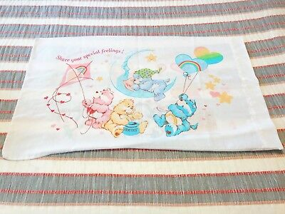 Vintage Double-Sided Care Bears Standard Pillow Case American Greetings Corp