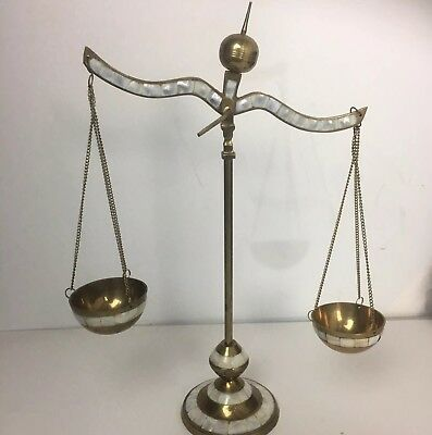 Vintage Balance Brass Scales of Justice Lawyer Scale Mother Of Pearl Libra