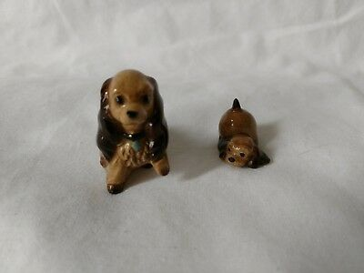 Vintage Hagen Renaker, Lady and puppy figurines, cocker spaniel dogs