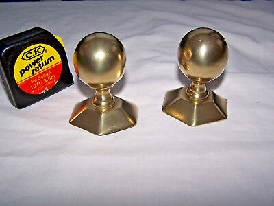 VINTAGE BRASS small FINIALS HANDLES OR EMBELLISHMENTS PAIR 6.5cm VICTORIAN