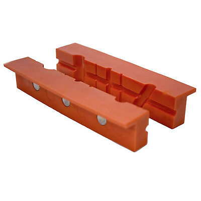 Plastic Vise Jaw Cover 2pc 6in Pipe Round Tube Dowel Grip Magnetic Bench Clamp