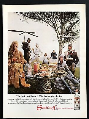 1969 Vintage Print Ad 60's SMIRNOFF Vodka Brunch Science Fiction Fantasy Costume