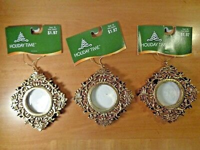 Lot of Three (3) Christmas Ornaments - Holiday Time - Small Golden Picture Frame