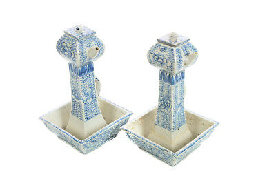 19th century antique Chinese Blue & White square Porcelain Tea Pots -Pair