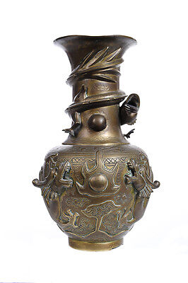 """Chinese 19th century intricate 10"""" Bronze Vase with Dragon Motif-Rare"""
