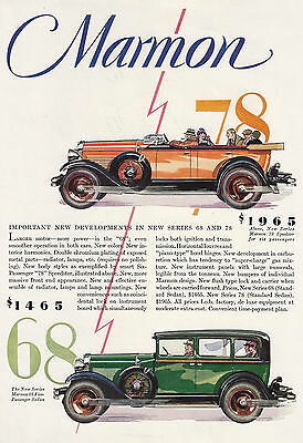 1928 Art Deco Car Ad Marmon Straight Eights 78 Speedster & 68 Sedan Indianapolis