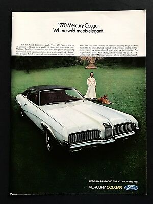 1969 Vintage Print Ad 60's Style Mercury Cougar Image Ford Woman With Dog