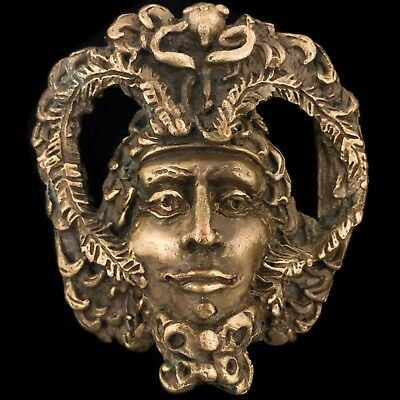 Rare Vtg NOS Greek Roman God 3-D Fantasy Green Man Face Artwork Art Belt Buckle