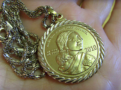 """Sacagawea American Indian Relief Council 2010 Coin Pendant & 22"""" Chain Necklace"""