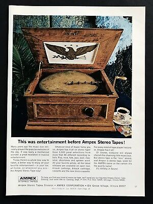 1969 Vintage Print Ad 60's AMPEX Stereo Tapes Music Box Player Image Photo