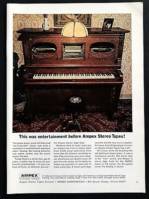 1969 Vintage Print Ad 60's AMPEX Stereo Tapes Music Player Piano Image Photo