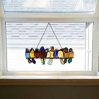 Stained Glass Window Panel Art Birds Tiffany Style Hanging Suncatcher Wall Decor