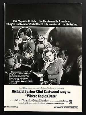 1969 Vintage Print Ad 60's WHERE EAGLES DARE Movie Release Clint Eastwood Burton