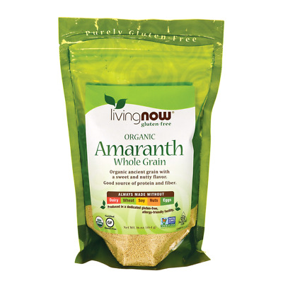NOW Foods Living Now Organic Whole Grain Amaranth 16 oz (454 g) Pkg