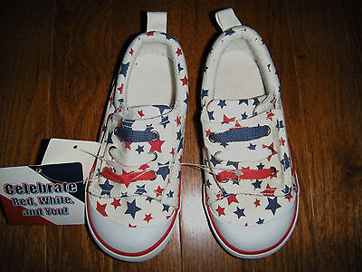 Toddler Girls' RED, WHITE and BLUE Slip-on Sneakers size 10 (NWT)