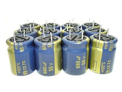 12pcs 680uf 50v Panasonic FC Series High Grade Capacitors NEW