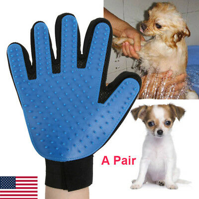 US Pet Grooming Gloves Brush Dog Cat Hair Remover Mitt Massage Deshedding 1 Pair