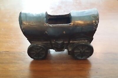 Vintage Trophy Craft Cast Iron Metal Covered Wagon Match Toothpick Cigar Holder