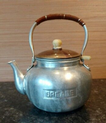 Aluminum Grease Canister Shaped Like A  Teapot Japan