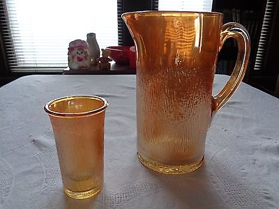 Iridescent Gold Carnival Glass Pitcher With 1 Glass