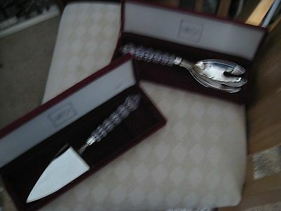 """Mikasa Rousseau Silver Plate Crystal Handle 11"""" Serving Fork And Cake Server"""